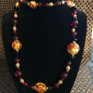Jewelry - Burgundy Beaded Necklace